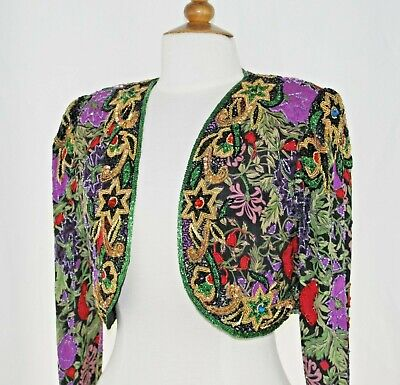 Jasdee Vintage Bolero Jacket Hand Work Bead & Sequins & HandPrint On Silk #2054S