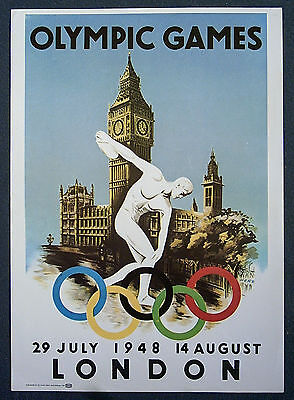 poster   XIV.Olympic Games LONDON 1948  -  Official Logo // 35 x 25 cm  !!  RARE