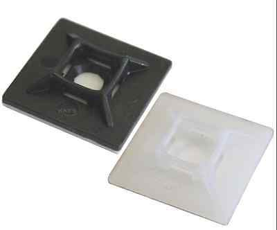 Self Adhesive Cable Tie Base Mounts, Black/White, 19/28mm, Free P&P