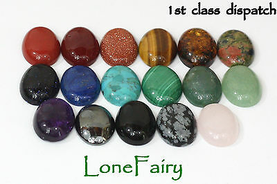 Genuine Gemstone 18 x 13 mm Oval Flat Back Cabochons Jewellery Beads Onyx Lapis