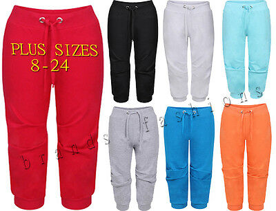 Ladies 3/4 Capri Jogging Shorts Bottoms Girls Gym Trousers Pants 8 - 22/24
