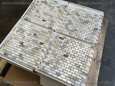 Skyfall Polished Marble Mosaic Tiles, 15x30x10mm JOBLOT 12M2, Marble Limestone