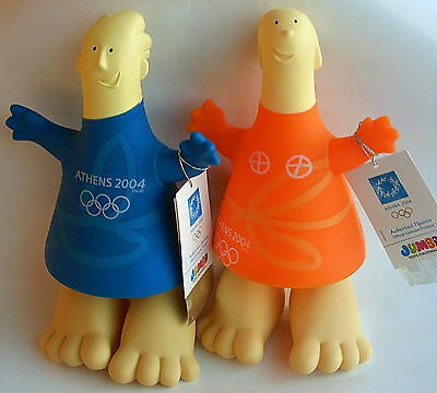 2 Orig.mascot`s  Olympic Games ATHEN 2004 - PHEVOS + ATHENA /// standing figures