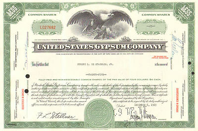 United States Gypsum Co    1960s Illinois Berkshire Hathaway stock certificate