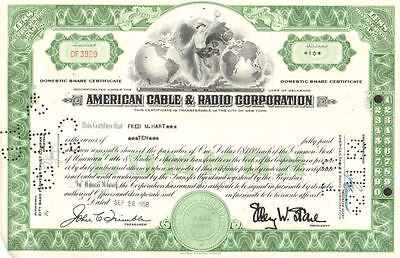 American Cable & Radio Corporation > 1950s Ellery Stone ITT stock certificate