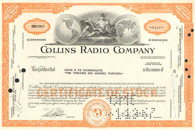 Collins Radio Company   1960s Iowa Space Race Rockwell Collins stock certificate