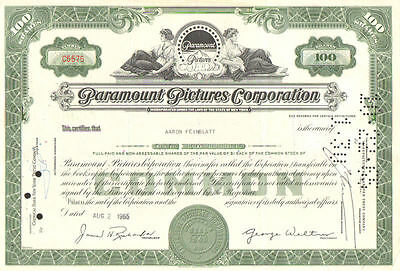 Paramount Pictures Corp 1965 New York Indiana Jones Star Trek stock certificate