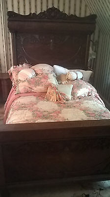 Antique bed from 1860's solid wood, stronge full size, with mattress and box