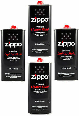 4 Cans Zippo Premium Lighter Fluid 12 fl oz. (355ml) For Zippo Lighters