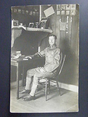 WWI Army Soldier Officer E5 Sargeant In Uniform Real Photo Postcard RPPC Antique