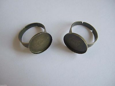50pcs Antique Bronze 16mm Round Cabochon Cameo Settings Adjustable Rings