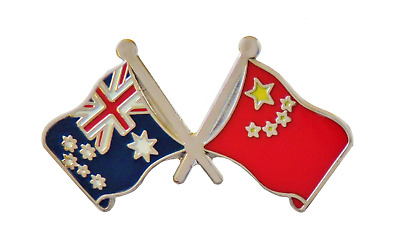 Australia Flag & China Flag Friendship Courtesy Pin Badge - A1