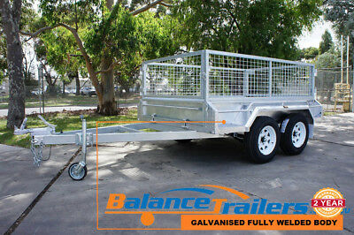 8x5 Hot Dip Galvanised Fully Welded Tandem Ttrailer With 600mm Removable Cage