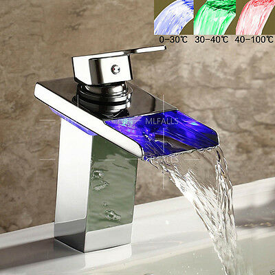 LED RGB Waterfall Chrome Single Lever No Battery Sink Basin Mixer Tap New Modern