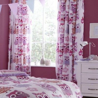 "Catherine Lansfield Fully Lined Owls Girls/Kids 66""x72"" Tab Top Bedroom Curtains"
