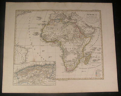 Africa continent Mts. of Moon 1852 by Stulpnagel antique engraved hand color map