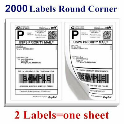 Round Corner 2000 8.5 x 5.5 Half Sheet Shipping Labels Self Adhesive - USPS eBay