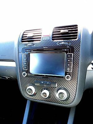 Carbon Fibre effect dash surround + air vents to fit VW Golf Mk5 Jetta Bora