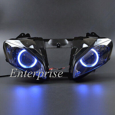 Projector Headlight Assembly HID Blue Angel Eyes for Yamaha YZF R6 2006-2007