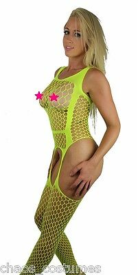Sexy Yellow Pantyhose Lingerie Sheer Lace Body Fishnet Crotchless Stockings