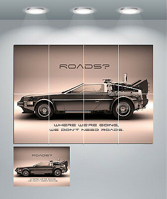 Delorean Back To The Future Vintage Movie Giant Wall Art Poster Print