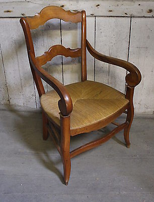 French Country Rushed Seated Ladder Back Fauteuil / Armchair in Provencal Style