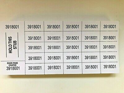 250ct Chinese Auction/Penny Social/ Penny sale tickets - 6 Colors to Choose From
