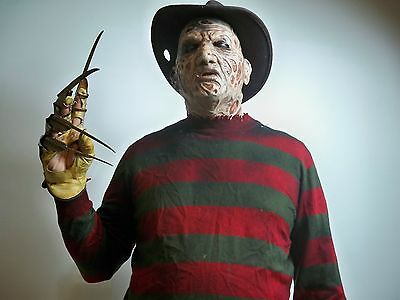 305901 Freddy Krueger Halloween Costume Outfit Mask Complete Silicone Claw Hand