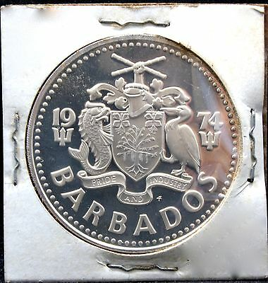 Barbados 5 Dollars 1974 Proof Coin Km 169 Fine Silver 800
