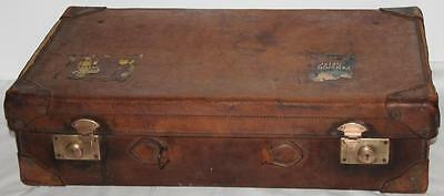 ANTIQUE LEATHER BOUND SUITCASE TRUNK LUGGAGE Early 1900s - FREE P&P [PL1099]