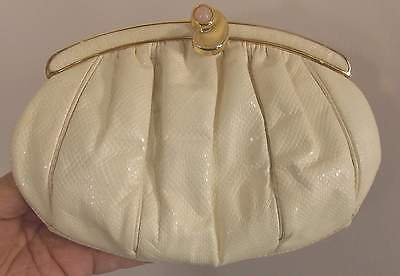 Judith Leiber Creme Eggshell Reptile Jeweled Clutch Shouldr  Cross Body Handbg