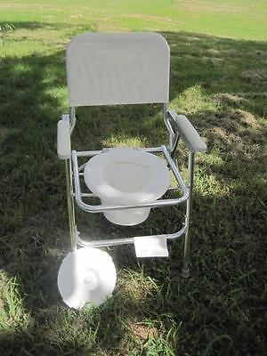 9075 Folding Portable Commode White 120 W/ Lid Toilet Restroom Bathroom Potty