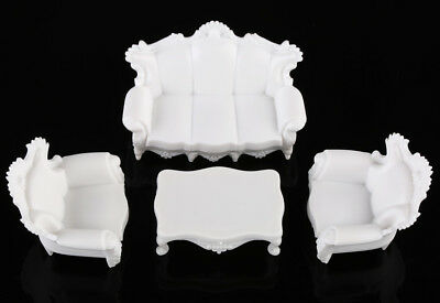 4pcs Antique Sofa Settee Couch Model Set Dollhouse Architecture Furniture 1:25