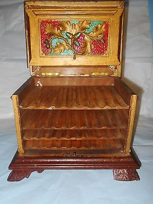 RARE VINTAGE ANTIQUE HAND MADE CARVED CIGAR BOX CONTAINER- KEEPER- HUMIDOR- RARE