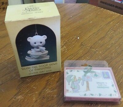 Pair of 2 PRECIOUS MOMENTS Christmas Tree Ornaments by ENESCO in Original Boxes