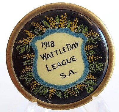 Vintage Tin Badge Pin Back 1918 Wattle Day League S.A. Exc Clean Cond 65