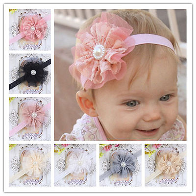 6Pcs Baby Girl Flower Hairband Soft Elastic Pearl Headband Hair Band Accessories