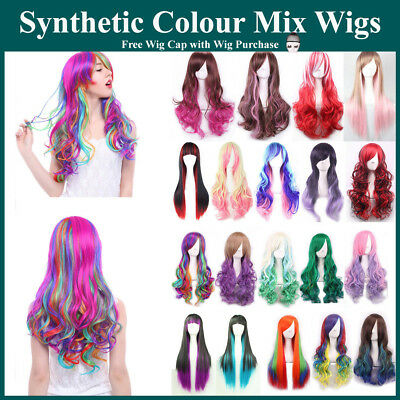 Colours Mixed Long Straight Wavy Wigs with Bangs Cosplay Lolita Costume Women