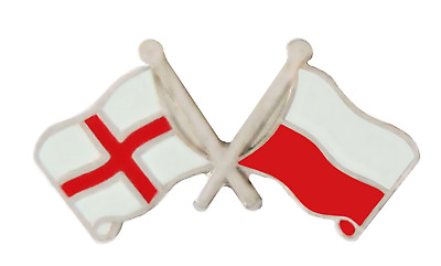 Poland & England Flag Friendship Courtesy Pin Badge - T4066