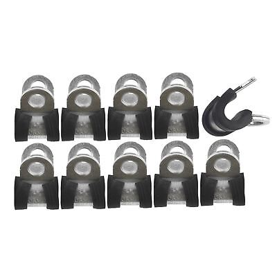 "Brake Pipe Clips Rubber Lined P Clips 1/4"" (6.4mm) lines Pack of 10 FL36"