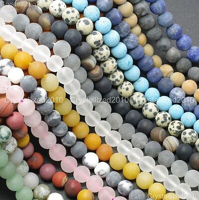 Natural Matte Frosted Gemstone Round Loose Beads 4mm 6mm 8mm 10mm 12mm 15'' Pick