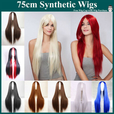 75cm Long Sleek Straight Hair Synthetic Full Wigs Cosplay Party Costume Wig
