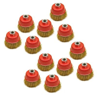 Wire Cup Brush / Wheel for Angle Grinder Crimped Brass Coated (12 Pack) AU028