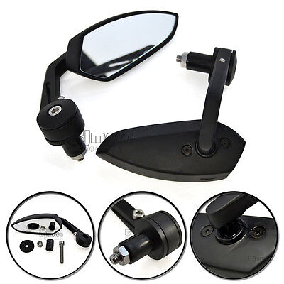 "7/8"" Black Motorcycle Aluminum Rear View Side Mirrors Handle Bar End  For Harley"