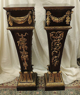 Pair 19th Century Mahogany & Gesso Pedestals ornately carved bronze holder