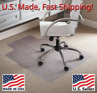 "U.S Made Tenex Chair Mat for Carpets Heavy Duty 45""x 53"" Clear Edge Gripper Back"