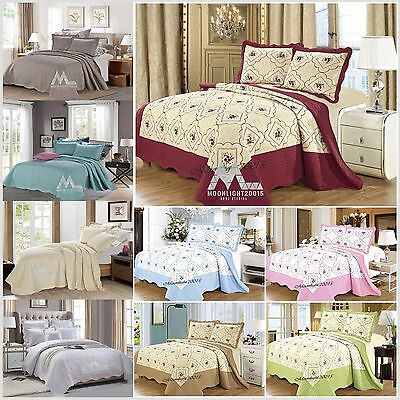 3 Piece Embroider Bedspread Quilted Bedspread Set Throw + 2 Pillow Shams