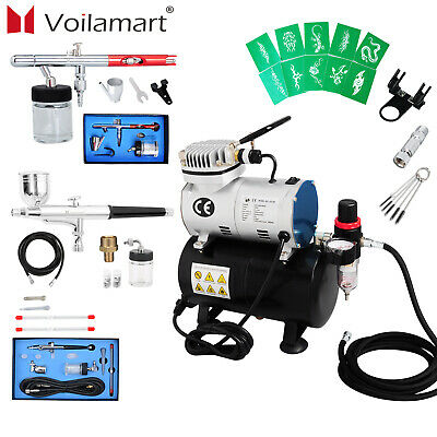 1/6HP Voilamart Air Brush Compressor 5/7/22cc Airbrush Dual Action Spray Gun Kit