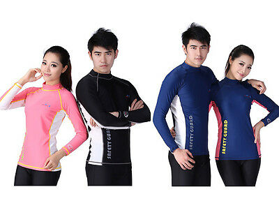 Men Women UV Protect Long Sleeve Diving Jetski Swim Suit Rash Vest Rashguard Top