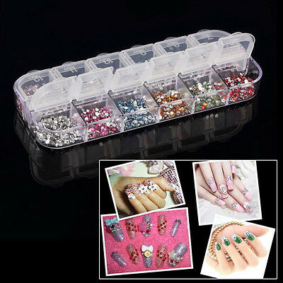 Women 3600 pcs 2mm Beautiful Women Round Nail Art Rhinestones Deco Glitter Case